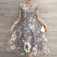 Quality fashion & charming round neck 3/4 sleeve floral print see-trough women's dress wholesale