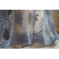 Pale Blue Beaded Embroidered 3D Flower Lace Fabric By The Yard For Wedding Dress