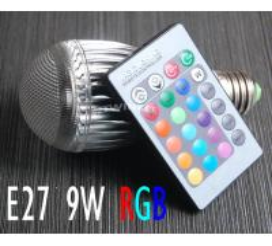 Best TOPIN 9W E27 16 Color Change RGB LED Light Bulb Lamp AC85-265V+IR Remote Control wholesale