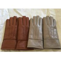 Best Windproof Men'S Shearling Sheepskin Gloves , Thick Fur Lined Leather Gloves Mittens  wholesale