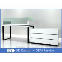 China White Jewelry Display Cases , Retail Glass Wooden Jewellery Display Cabinets on sale