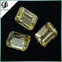 China Direct Manufacturer yellow color emerald cut AAA grade synthetic CZ stones loose CZ gems on sale