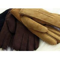 Best Handsewn Warmest Sheepskin Gloves , Ladies Genuine sueded lambskin Shearling Gloves wholesale