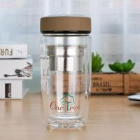 Best Eco Friendly Double Wall Glass Water Bottle Wide Mouth Heat Resistance wholesale