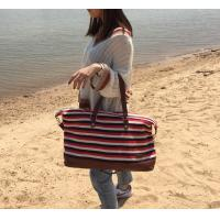 Best Red Striped PU Handle Crossbody Shoulder Bags With Water Resistant Fabric wholesale