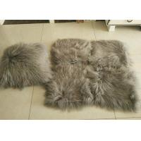 Best 10-15cm Curly Hair Mongolian Fur Pillow Soft Warm With Suede Fabric Backing wholesale