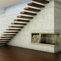 Cheap House Red Oak Tread Stairs Floating Cantilevered Staircase with Frameless for sale