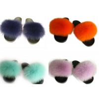 Best Long Hair Fluffy Fox House Slippers Rubber Sole Soft Comfortable For Women wholesale