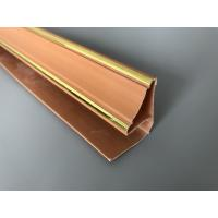 Best 5.95m Length Brown PVC Extrusion Profiles With Golden Lines Top Corner Type wholesale