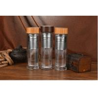 Best Eco Friendly Double Wall Glass Water Bottle Bamboo Lid For Children Drinking wholesale