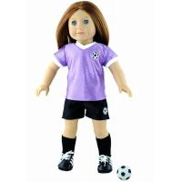 China 18 Cute Soccer Doll Clothes Set , Purple / White Madame Alexander Dolls Outfits on sale