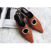 Best Brown Chunky Heel Mules , Suede High Heel Mules With O Shape Hollow Metal Buckle wholesale