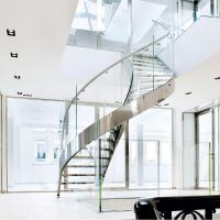 Cheap Wood Step Glass Rails Curved Staircase with Stainless Steel Stringer and Glass for sale