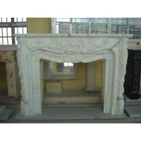 Best Contemporary Natural Stone Fireplaces / White Marble Fireplace Customized Shape wholesale