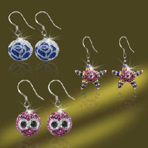 Best 2012 Popular Shamballa Crystal Earrings with Silver Earring Hooks (ESA257) wholesale