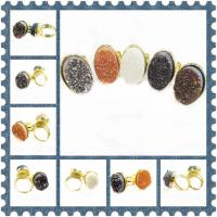 Best Men's 13 * 18 Mm Natural Druzy Agate Ring With Gold Plating Jewelry wholesale