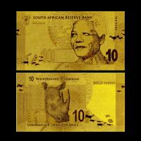 Best 9999 24K South African 10 Rand Gold Foil Banknote , Present Gold Plated Currency wholesale