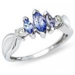 Best Tanzanite and Diamond 14K White Gold Three Stone Ring wholesale