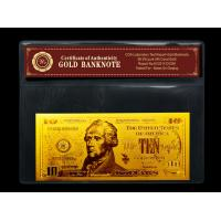 Best gold plated notes $10 gold dollar bill plastic holder for present Gift wholesale