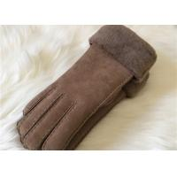 Best ladies double face shearling Turn Cuff gloves hand sewn shearling suede gloves wholesale