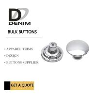 Buy cheap Customized Shiny Denim Shank Silver Metal Buttons Flat For Jeans Pants from wholesalers