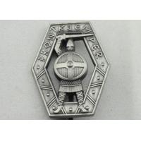 Best Zinc Alloy 3D Warrior Badge, Antique Silver Plating Souvenir Clip Metal Badges wholesale