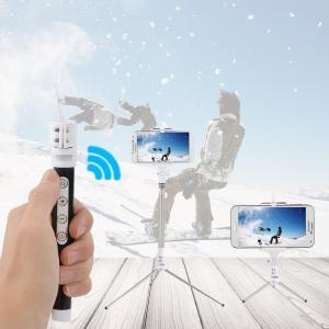 Cheap Wireless Bluetooth Monopod Selfie Stick Self Portrait Video Built-in Remote Shutter Button for sale
