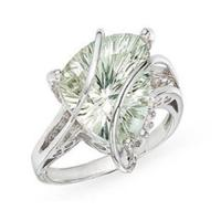 Best Ring(Trillion-Cut Green Amethyst and Diamond 14K White Gold Ring) wholesale