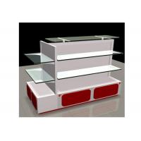 Best White Gondola Shop Shelving With 2mm Thickness Glass Shelf , Recyclable Liquor Store Shelving wholesale