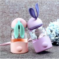 Best 340ml Kids Rabbit Shaped Gift Unbreakable Glass Water Bottle With Silicone Sleeve wholesale