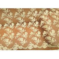 Best Gold Retro Scalloped Corded Lace Fabric , Polyester Embroidered Floral Tulle Fabric wholesale
