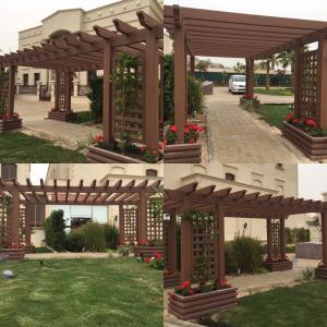 Cheap Garden Wood Plastic Composite Pergola 6m X 1.4m Weather Resistant Environmental Friendly for sale