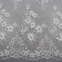 Best 3D Flower Beaded Lace Fabric , Embroidery Lace Tulle Fabric For Bridal Dresses wholesale