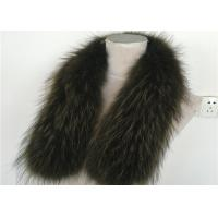 Best Green Medium / Large 100% Gunine Raccoon Fur Collar For Coats wholesale