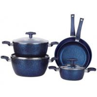 Best 8PCS heat resistant nonstick blue marble inside and outside coating Aluminum cookware set with saucepot wholesale