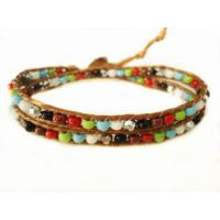 Best OEM Colorful Long Leather Beaded Bracelets Charming Jewelry For Girls / Boys wholesale