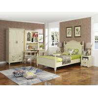 Best Rubber Wood made Kids/Children/Single white bedroom 1.2/1.4M small bed Space saving furniture with Study table/bookcase wholesale