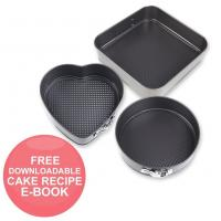 Best Nonstick Bakeware Springform Pan Set Bundle with 10-Inch Square, 9.8-Inch Round, 8.6-Inch Heart Shaped Cake Pan wholesale