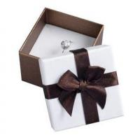 Best Decorative Gift Paper Ring Box , Custom Printed Jewelry Boxes White Foam Inside wholesale