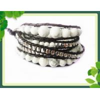 Best 82cm Semi Gemstone Leather Wrap Bracelets / White Howlite wrap bracelet bangle wholesale