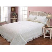 Best Microfiber Embroidery Double Bed Quilt Covers , Plain Color Design Quilted Bed Covers wholesale