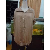 Best 100% Viscose Womens Fashion Tops Bow Back Waist Button Up Shirts  Tops Elastic Cuff wholesale
