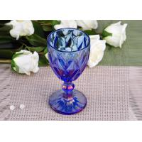 Best Antique colored glass candle holders Iridescent Blue Stemware Embossed wholesale