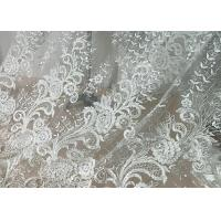 Best Embroidered Floral Sequin Tulle Lace Fabric For Bridal Couture Polyester Nylon Material wholesale