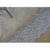 Best Floral Embroidery Corded Lace Fabric , Bridal Sequin Mesh Fabric With Scalloped Edge wholesale
