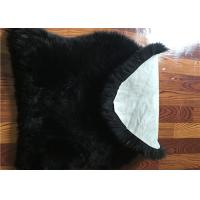 Cheap Dyed Black Sheepskin Floor Rug , Long Hair Wool Genuine Sheepskin Seat Covers for sale