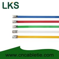 Best 4.6*150mm 201,304,316 grade epoxy polyester coated Ball-lock stainless steel cable ties wholesale