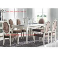 Best Ivory Neoclassical Dining Room Furniture collection by rubber wood with Glass or Marble table top wholesale