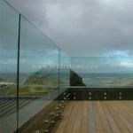 Frameless Tempered Glass Standoff Railing For Balcony / Staircase Standoff Bracket Glass Handrails