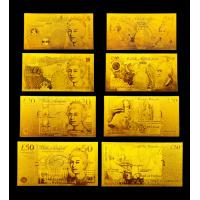 Best UK Pure 24K Gold Plated 5 10 20 50 Pounds Gold Banknote wholesale